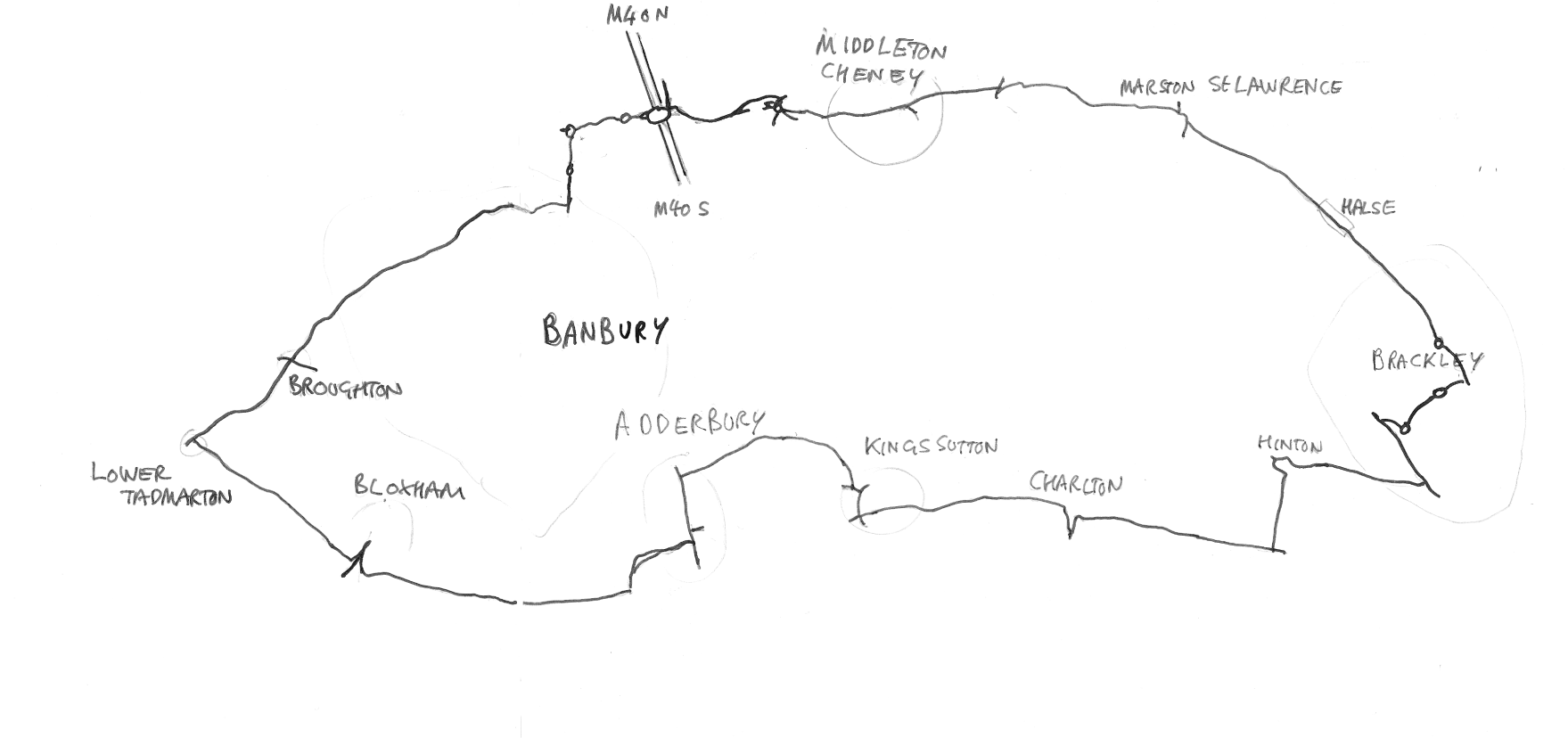 Brackley to Bloxham route map
